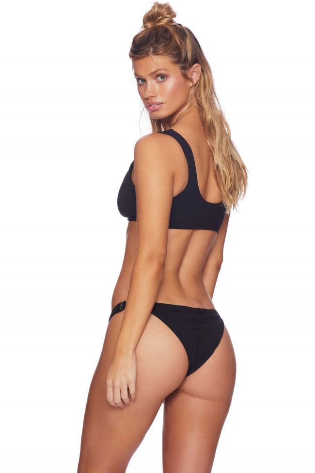 Ribbed High Cut Knotted Crop Bikini Swimsuit in Black