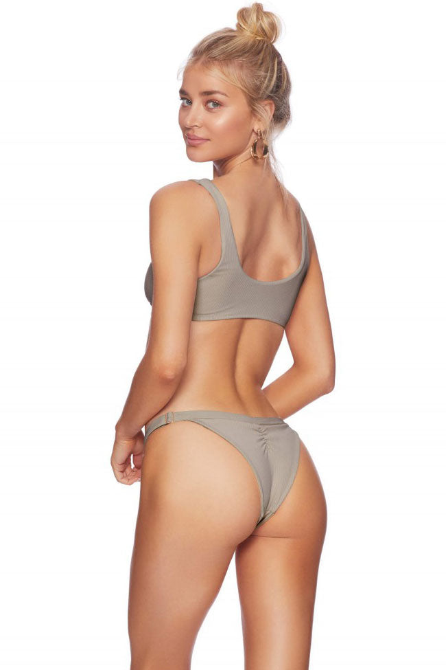 Ribbed High Cut Knotted Crop Bikini Swimsuit in Gray