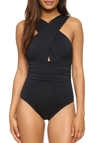 Ruched Cross Wrap One Piece Swimsuit in Black