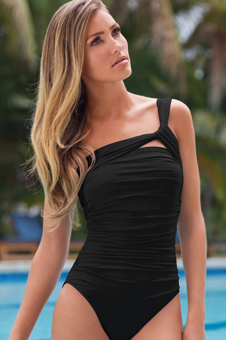 Ruched One Shoulder Tankini Swimsuit in Black