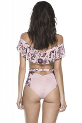 Ruffle Floral Off Shoulder Monokini One Piece Swimsuit in Pink