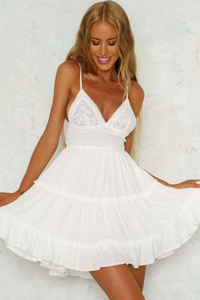 91b49760ac Bowknot Back Lace V Neck Fit Flare Beach Dress in White – Mode Cute