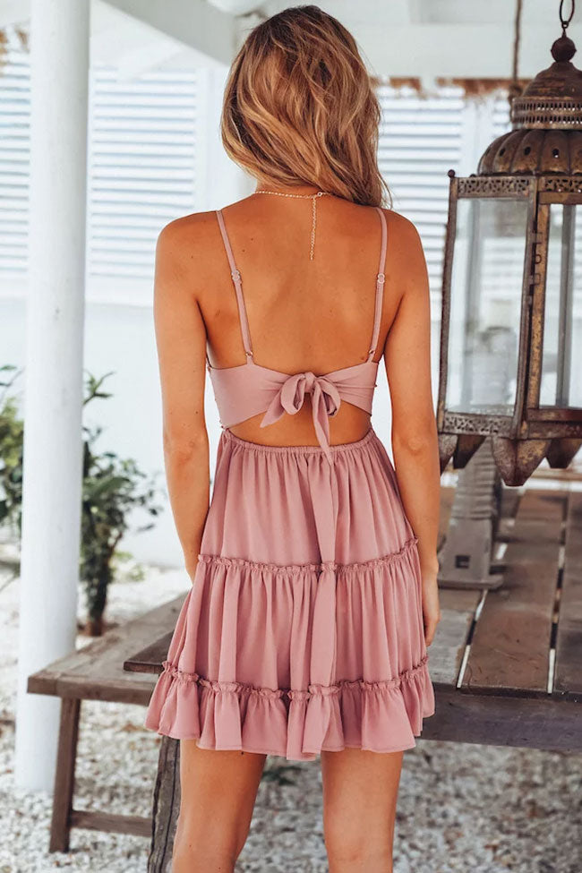 Bowknot Back Lace V Neck Fit Flare Beach Dress In Pink
