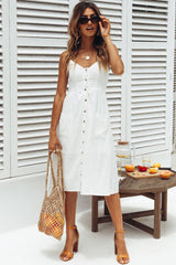 Leisure Shirred Single Breasted Smocked Midi Beach Dress in White