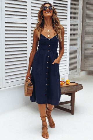Leisure Shirred Single Breasted Smocked Midi Beach Dress in Dark Blue