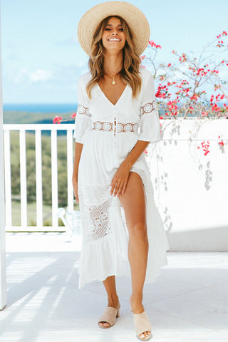Flattering Single Breasted Lace Splicing Chiffon Beach Dress in White