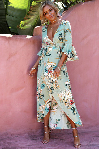 Flare Sleeve Floral Printed Asymmetric Wrap Beach Dress in Green