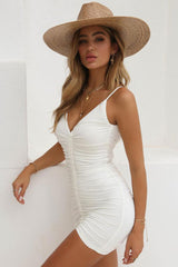 Low Back Drawstring Ruched Deep V Bodycon Beach Dress in White