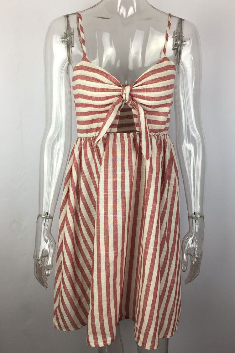 Knotted Striped Flare Hem Beach Dress in Pink