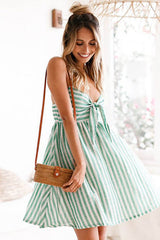 Knotted Striped Flare Hem Beach Dress in Green