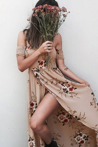 Floral Shirred Off The Shoulder Split Maxi Beach Dress in Khaki