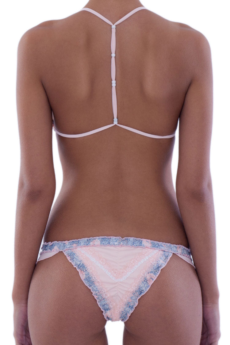 Beads Splicing Lace Sliding Triangle Thong Bikini Swimsuit in Pink