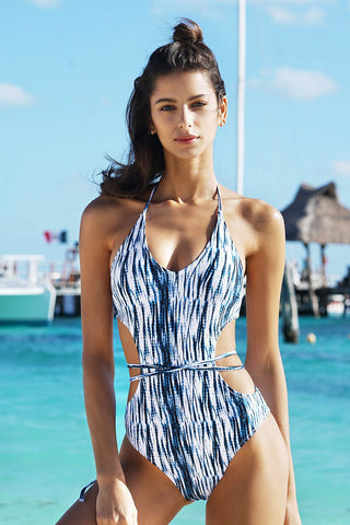 Crayon Printed Strappy Halter Monokini One Piece Swimsuit in Blue