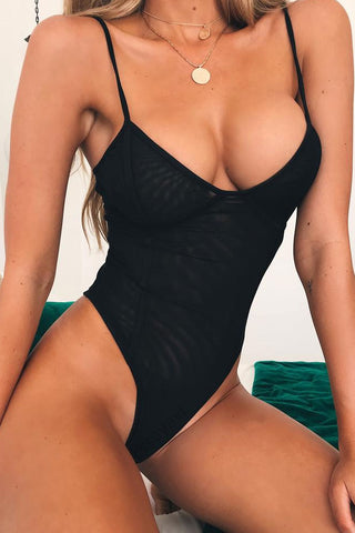 Sexy Mesh High Cut One Piece Swimsuit in Black