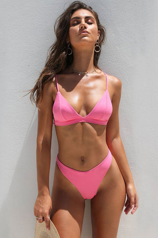 High Cut High Waist Spaghetti Straps Triangle Bikini Swimsuit in Pink