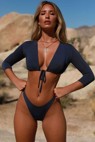 High Cut Tied Front Half Sleeves Brazilian Bikini Swimsuit in Navy