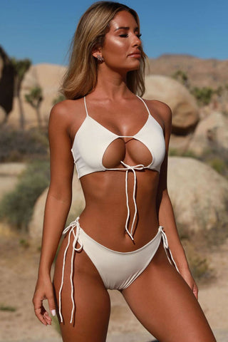 Tied Side String Cutout Padded Bikini Swimsuit in White