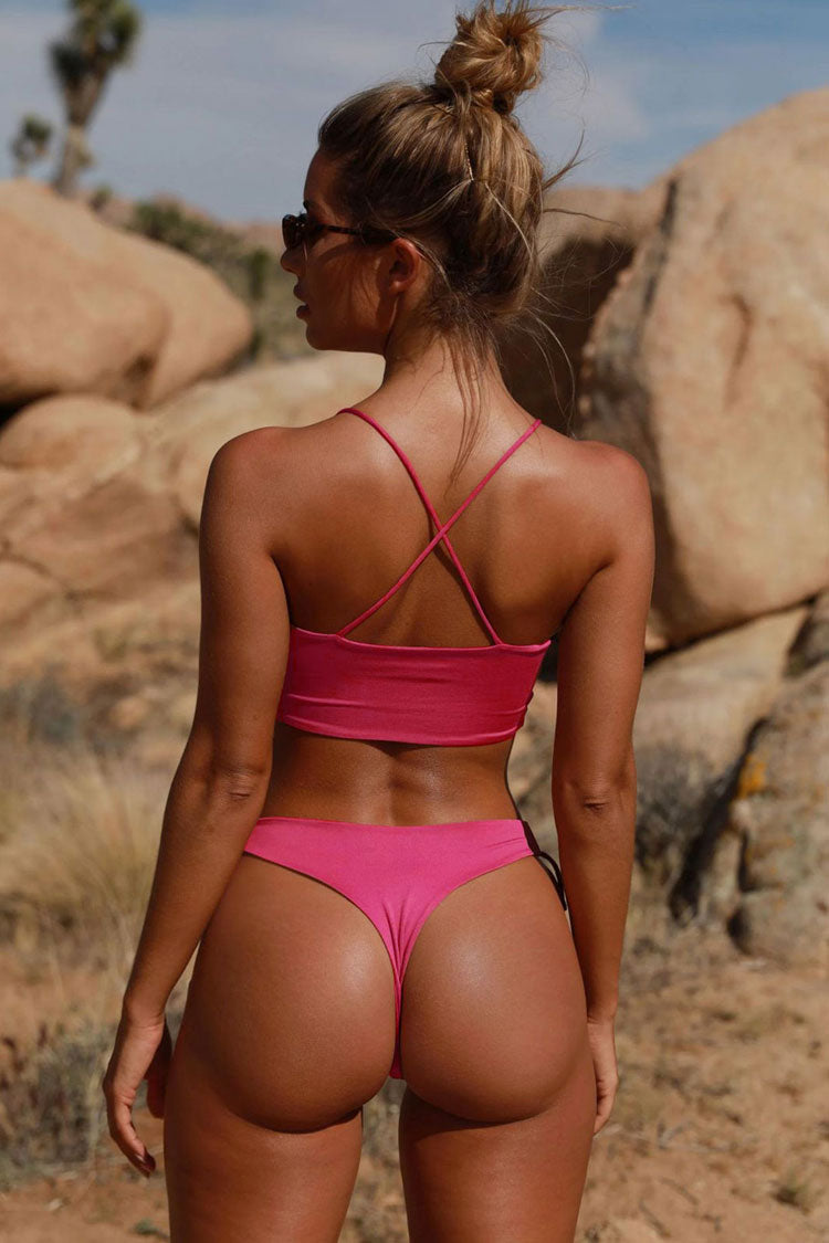 Tied Side String Cutout Padded Bikini Swimsuit in Rose