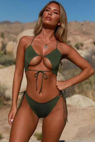 Tied Side String Cutout Padded Bikini Swimsuit in Army Green