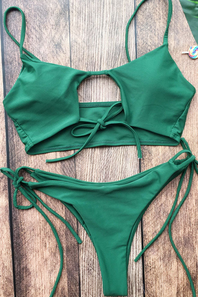 dca6bde7d9 Tied Side String Cutout Padded Bikini Swimsuit in Army Green – Mode Cute