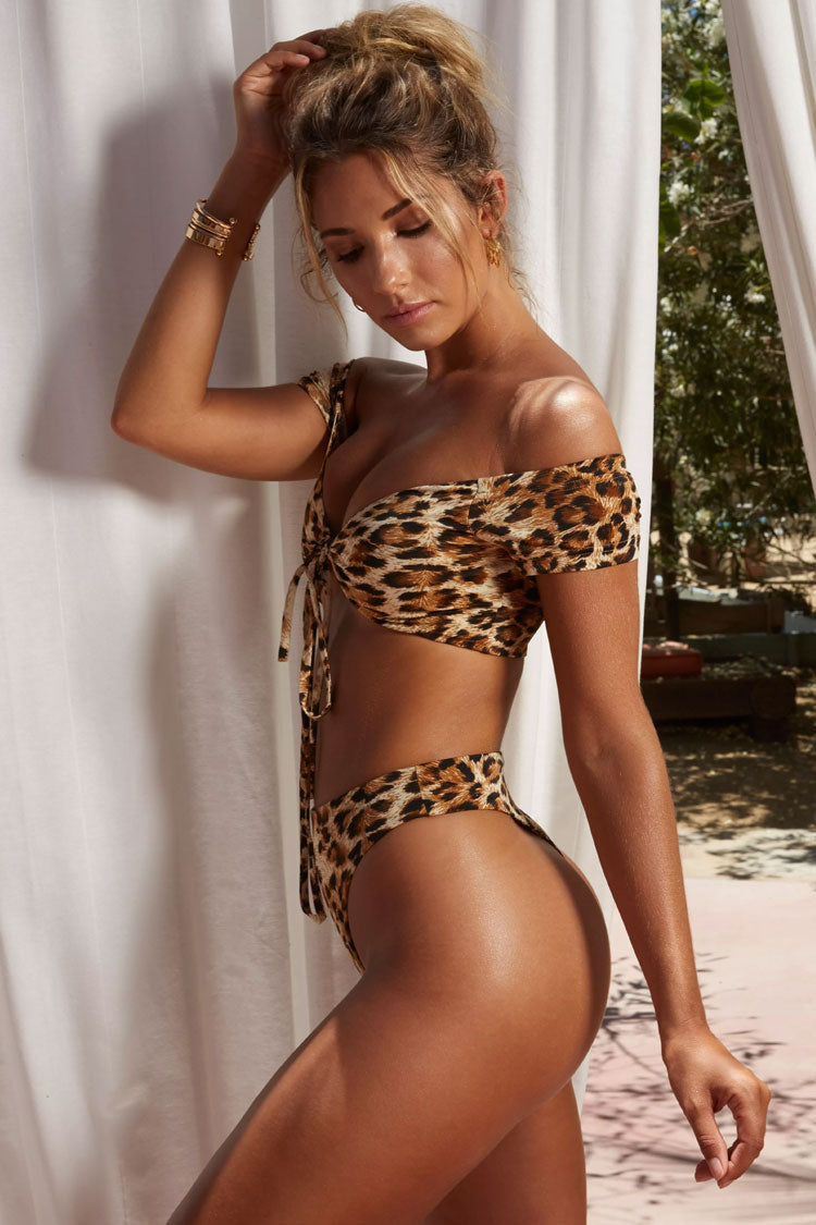 Leopard High Cut High Waist Off Shoulder Bikini Swimsuit in Brown