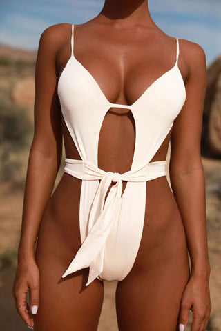 High Cut Knotted Plunged V Neck Thong Monokini One Piece Swimsuit in White