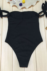 Ribbed High Cut Off Shoulder Tie One Piece Swimsuit in Black