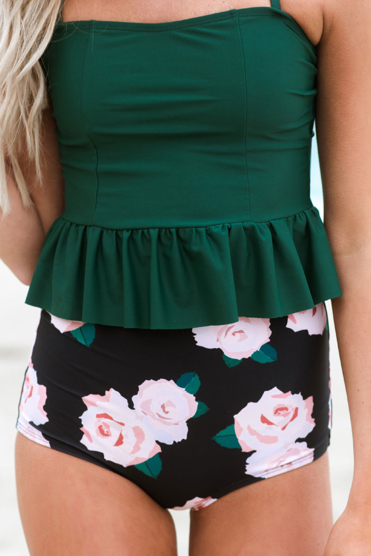 Vintage High Waist Floral Peplum Bandeau Crop Tanikini Swimsuit in Green
