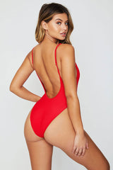 Low Back Ribbed High Cut Button-Up One Piece Swimsuit in Red
