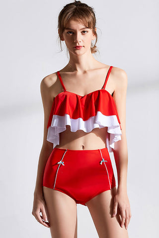 High Waist Contrast Color Ruffle Bandeau Bikini Swimsuit in Red