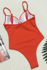 Ribbed High Cut Underwire One Piece Swimsuit in Orange Red