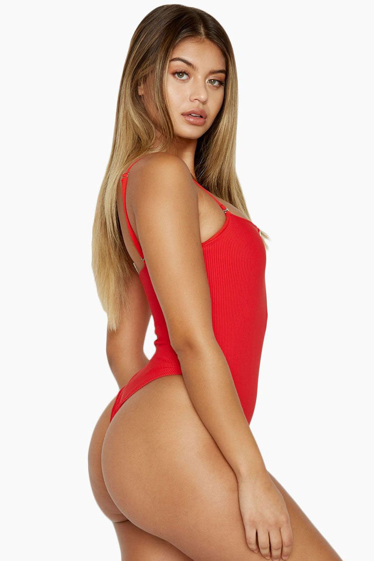 Ribbed High Cut Zip Front Bandeau One Piece Swimsuit in Red