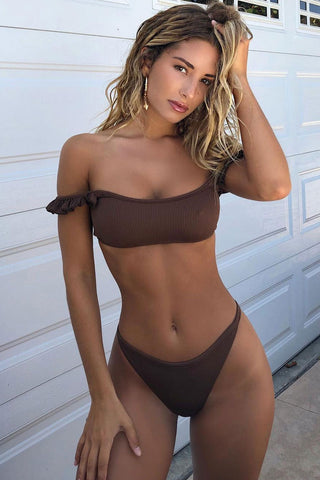 Ribbed Ruffle Off Shoulder Thong Bikini Swimsuit in Brown