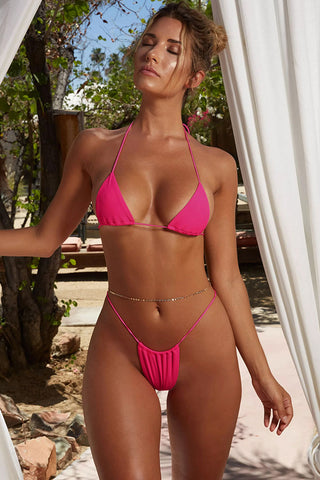 Ribbed Thong Sliding Triangle Bikini Swimsuit in Rose