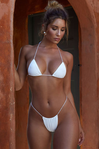 Ribbed Thong Sliding Triangle Bikini Swimsuit in White