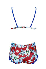 High Waist Floral Ruffle Triangle Bikini Swimsuit in Red