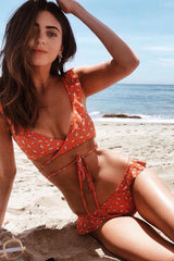 Ruffle Trim Floral Printed Wrap Bikini Swimsuit in Red