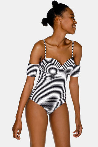 Short Sleeve Underwire One Piece Swimsuit in Stripe