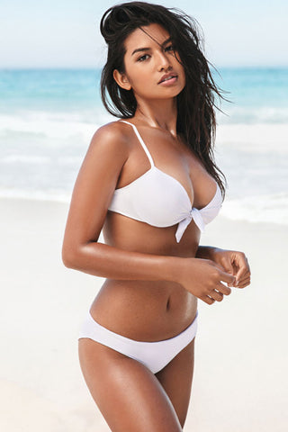 Solid Knotted Front Scrunch Underwire Bikini Swimsuit in White