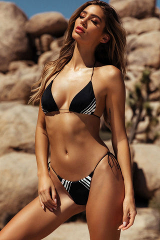 Tie Side String Brazilian Slide Triangle Bikini Swimsuit in Black