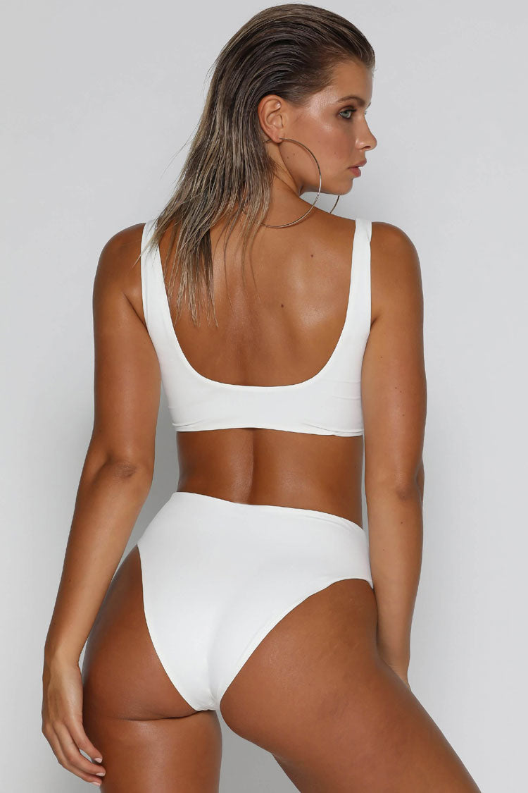Zip Front High Cut High Waist Bikini Swimsuit in White