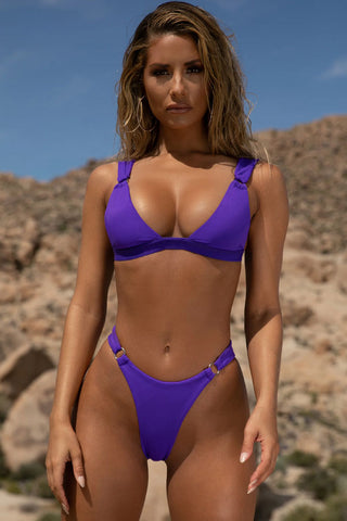 Athletic High Waist Gold Rings High Apex Bikini Swimsuit in Purple