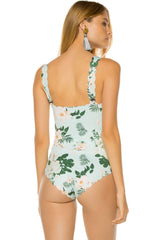 Blooming Floral Scalloped One Piece Swimsuit in Light Green