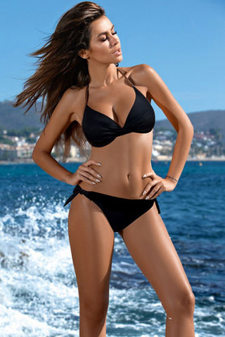 Bohemian Twist Front Bikini Swimsuit in Black