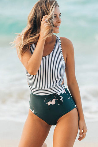 Boho Floral Zipper Racerback One Piece Swimsuit in Striped