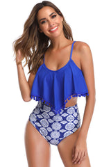 Boho Pompon High Waist Floral Printed Ruffle Bikini Swimsuit in Blue