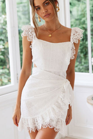 Bowknot Detail Lace Cutting Beach Dress in White
