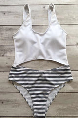 Casual Striped Scoop Neck Cut out High Cut One Piece Swimsuit in Striped