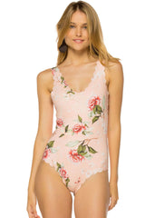Chic Scallop Floral Printed One Piece Swimsuit in Pink
