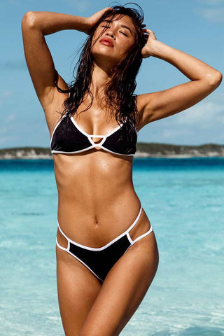 Contrast Cutout Triangle Bikini Swimsuit in Black